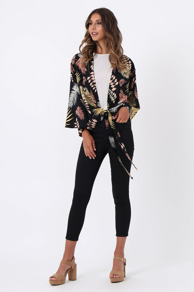 SJ1366-BLACK PALM PRINT TIE FRONT TOP view 4