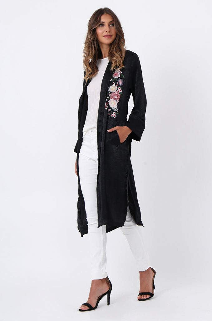 SJ1368-BLACK FLORAL EMBROIDED SATIN DUSTER view 2