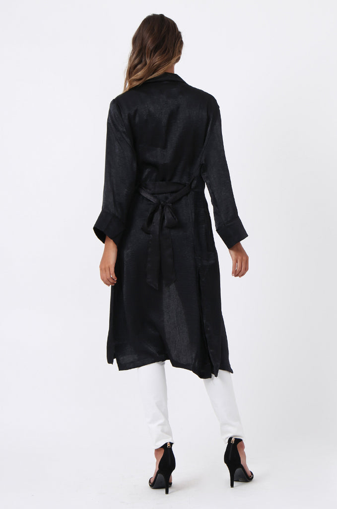 SJ1368-BLACK FLORAL EMBROIDED SATIN DUSTER view 3
