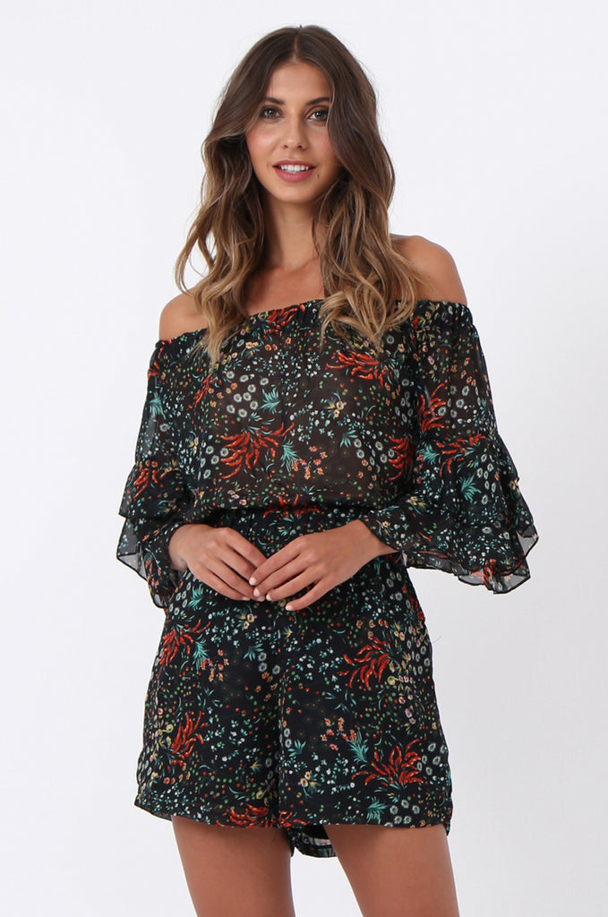 SJ1372-BLACK FLORAL FRILL SLEEVE PLAYSUIT view 2