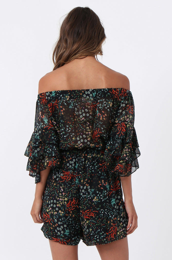 SJ1372-BLACK FLORAL FRILL SLEEVE PLAYSUIT view 4