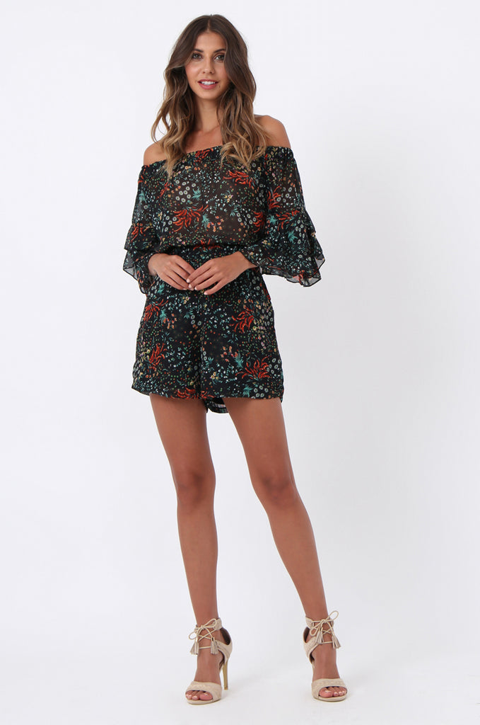 SJ1372-BLACK FLORAL FRILL SLEEVE PLAYSUIT