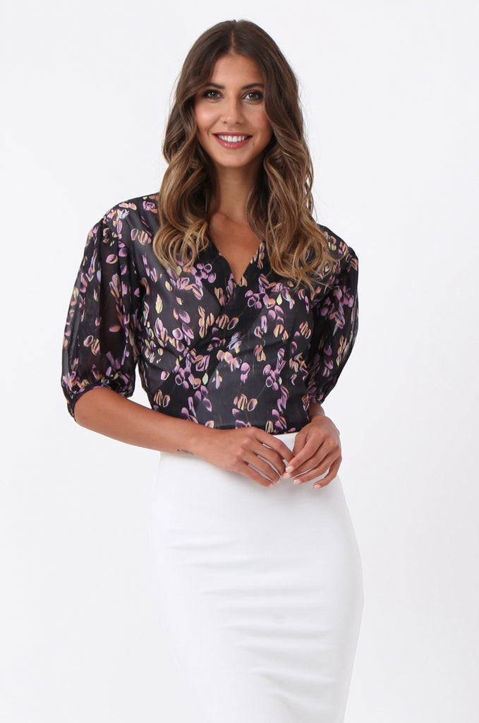 SJ1389-BLACK FLORAL BALLET WRAP TOP