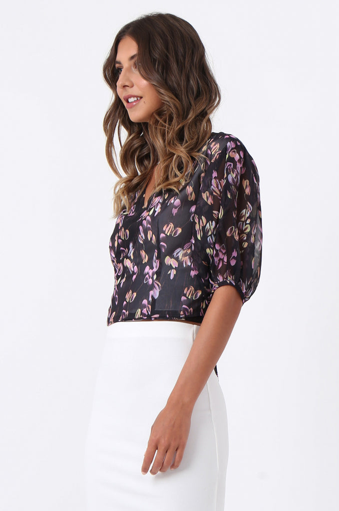 SJ1389-BLACK FLORAL BALLET WRAP TOP view 2