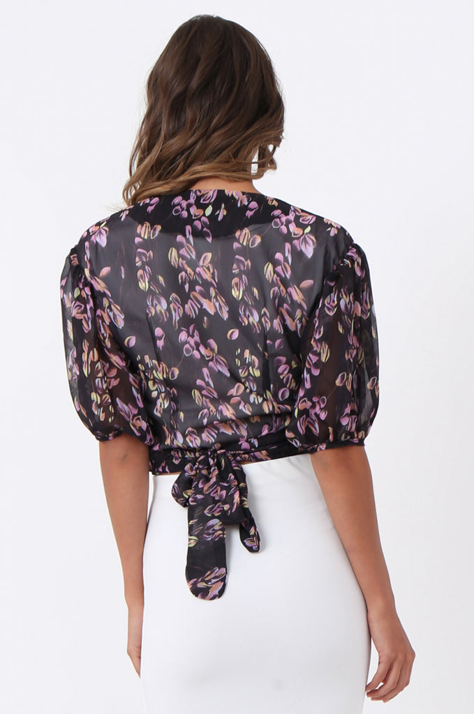 SJ1389-BLACK FLORAL BALLET WRAP TOP view 3