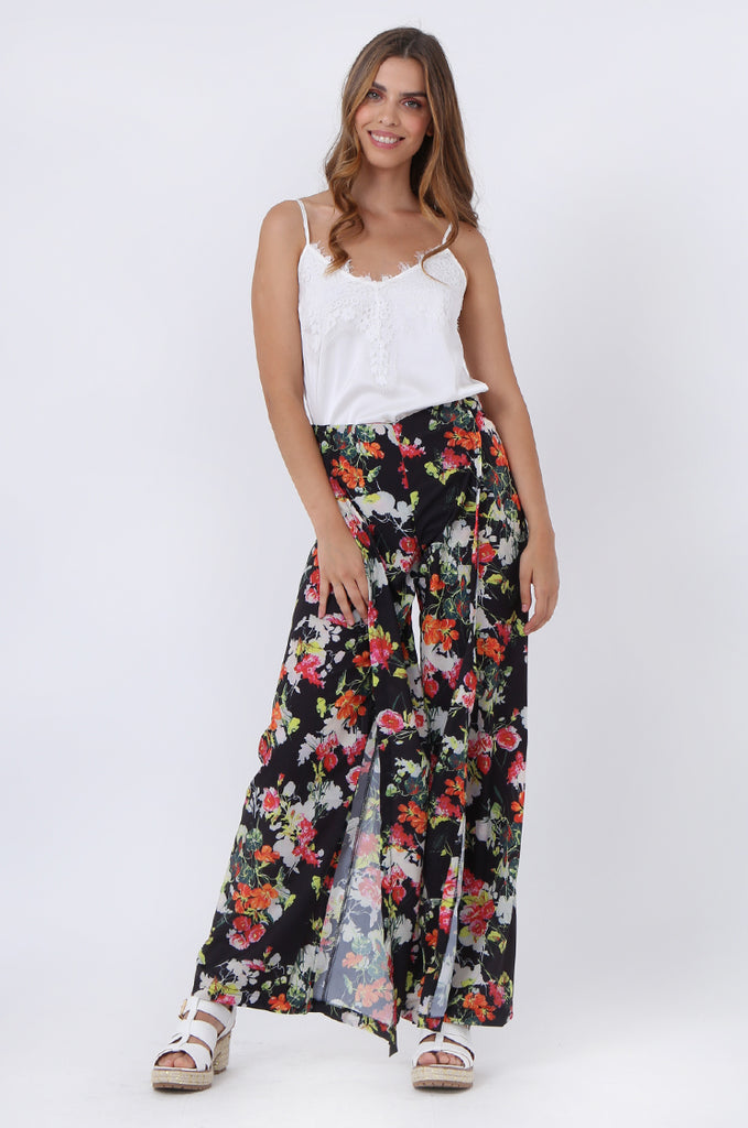 SJ1392-BLACK FLORAL SPLIT LEG PANTS