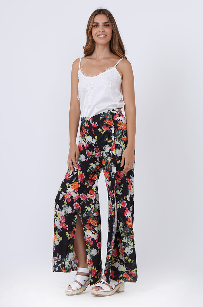 SJ1392-BLACK FLORAL SPLIT LEG PANTS view 2