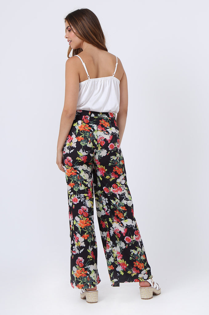 SJ1392-BLACK FLORAL SPLIT LEG PANTS view 3