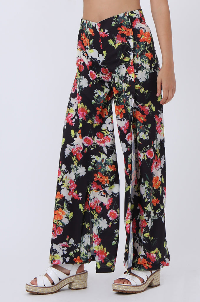 SJ1392-BLACK FLORAL SPLIT LEG PANTS view 4