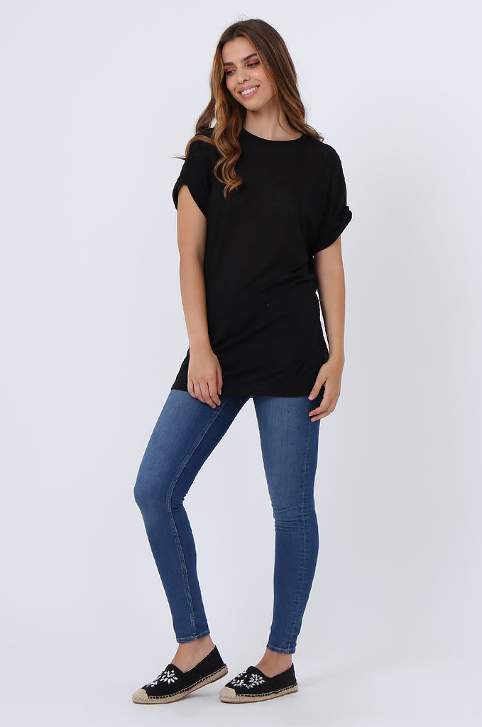 SJ1401-BLACK OVERSIZE SLUB T-SHIRT view 4
