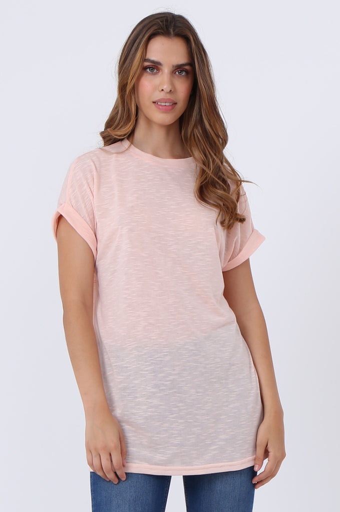 SJ1401-PEACH OVERSIZE SLUB T-SHIRT view main view