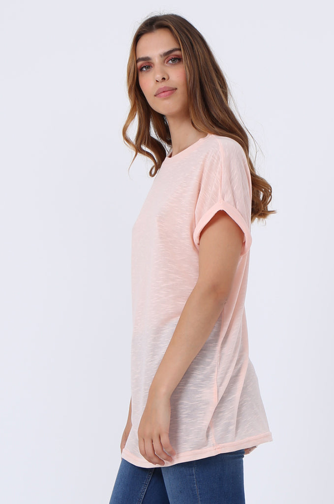 SJ1401-PEACH OVERSIZE SLUB T-SHIRT view 2