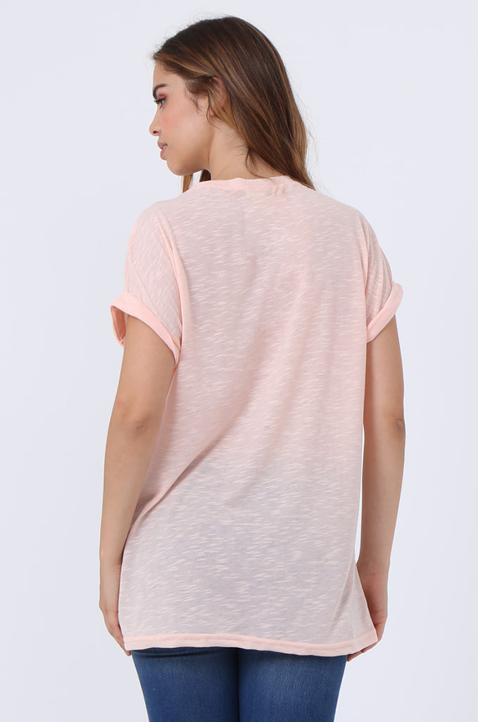 SJ1401-PEACH OVERSIZE SLUB T-SHIRT view 3