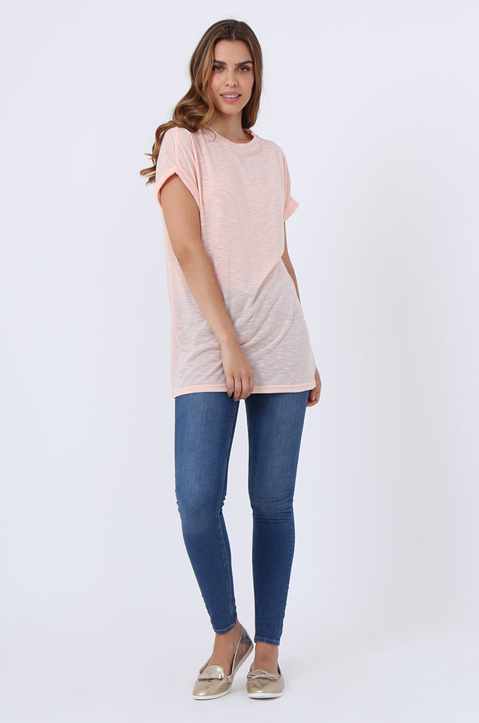 SJ1401-PEACH OVERSIZE SLUB T-SHIRT view 4