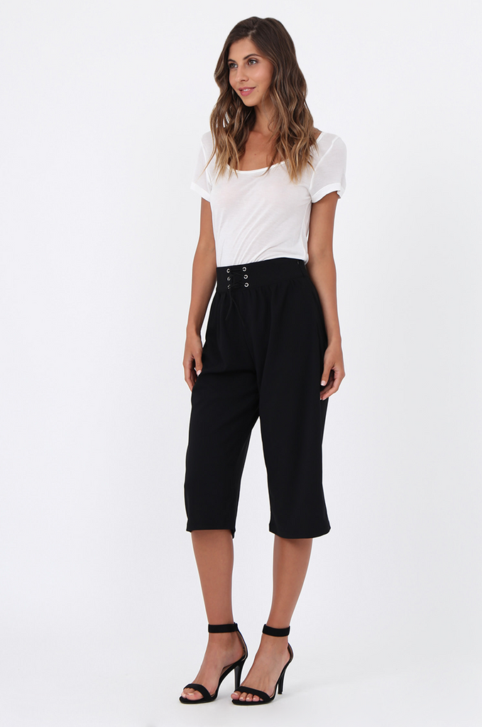 SJ1538-BLACK LACE UP FRONT CULOTTE view main view