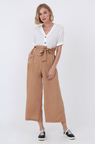 PAPER BAG WAIST WIDE LEG TROUSERS