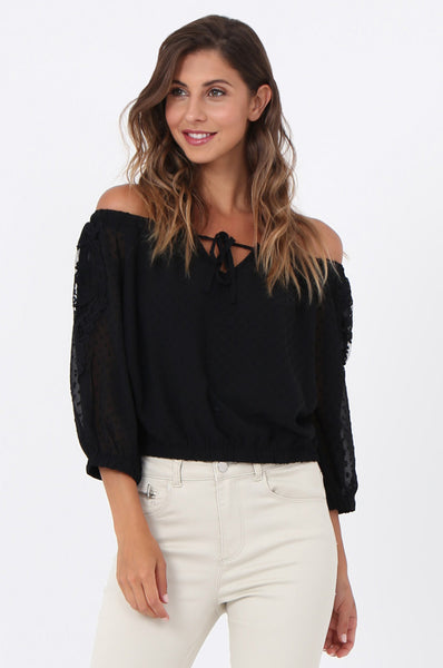 LACE APPLIQUE OFF SHOULDER TOP