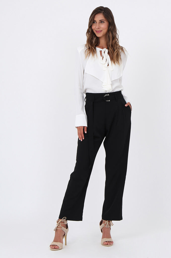 SJ1570-BLACK BELTED TROUSERS
