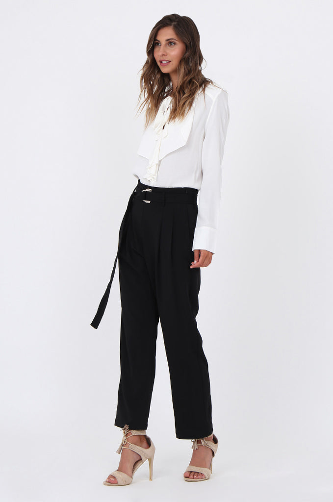 SJ1570-BLACK BELTED TROUSERS view 2