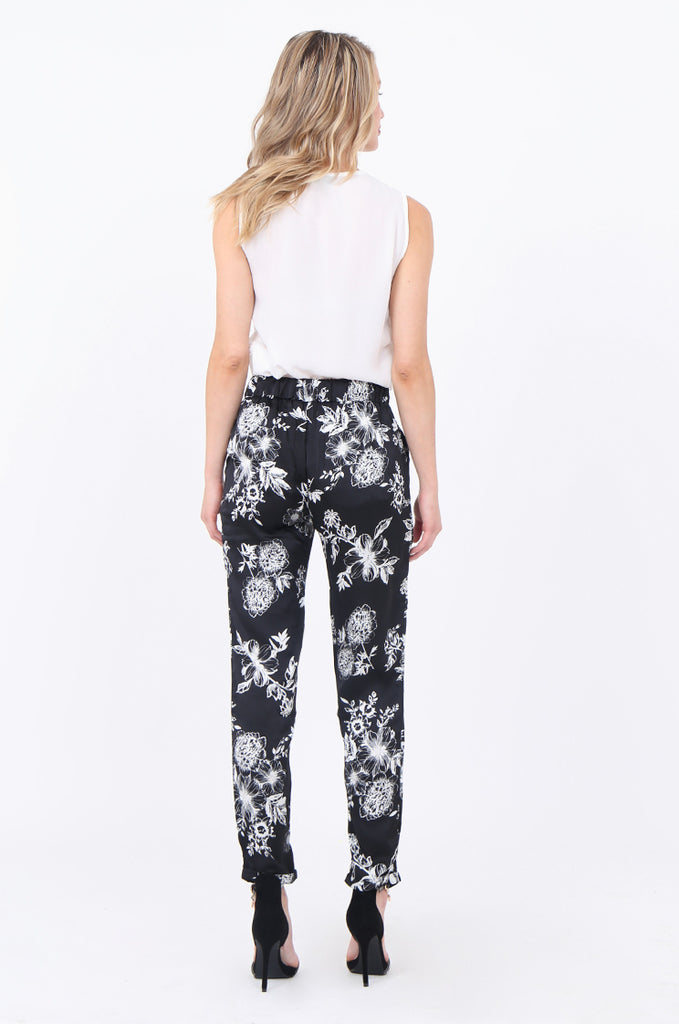 FLORAL TAPERED LEG TROUSERS