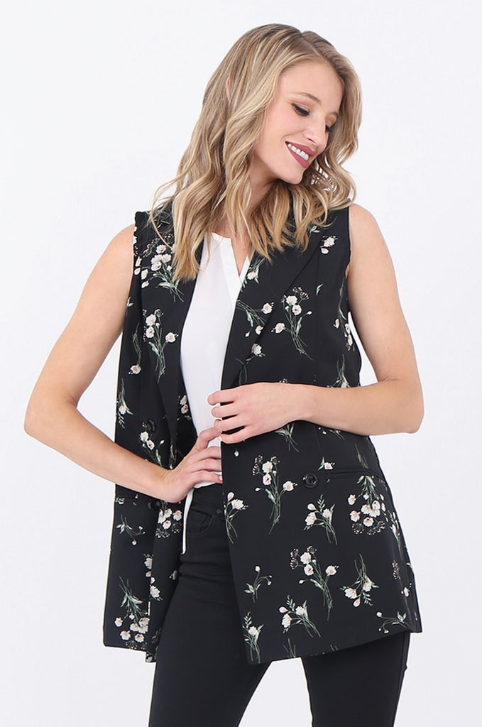 SJ1697-BLACK FLORAL DOUBLE BREASTED LONG VEST