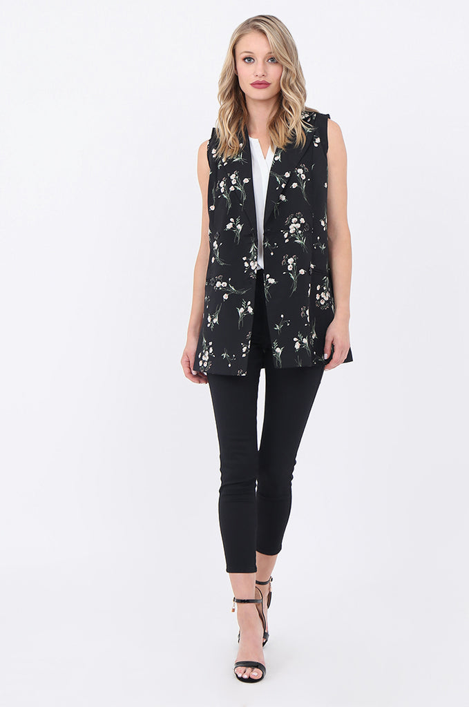 SJ1697-BLACK FLORAL DOUBLE BREASTED LONG VEST view 4