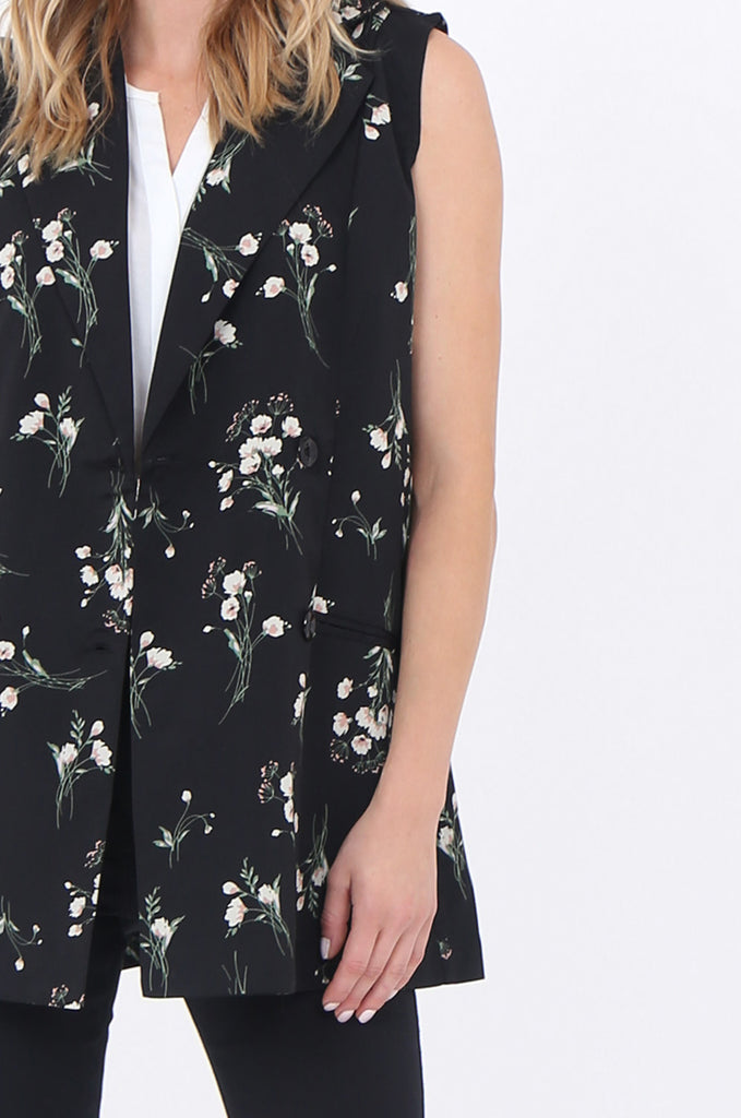 SJ1697-BLACK FLORAL DOUBLE BREASTED LONG VEST view 5