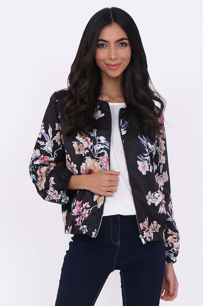 SJ1699-BLACK SATIN FLORAL BOMBER JACKET view main view