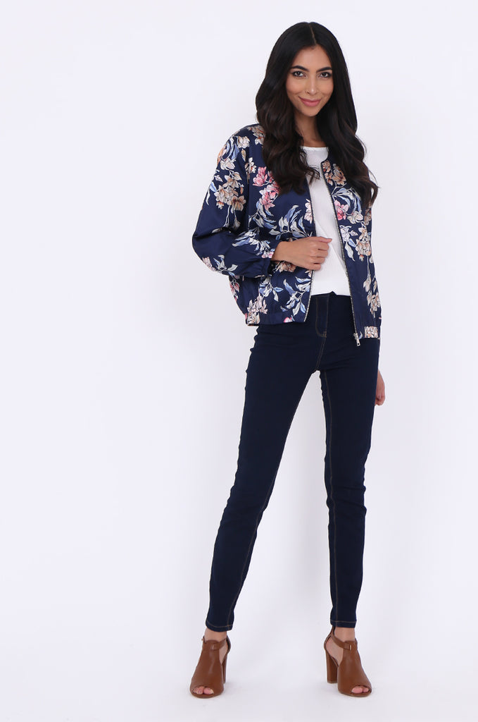 SJ1699-NAVY SATIN FLORAL BOMBER JACKET view 4
