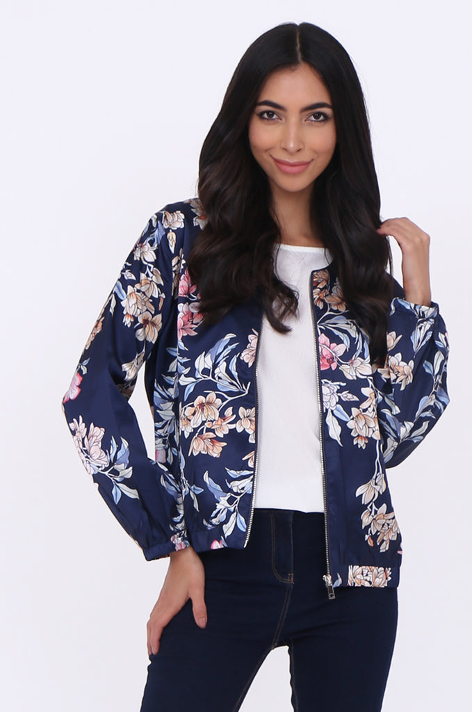 SJ1699-NAVY SATIN FLORAL BOMBER JACKET view main view