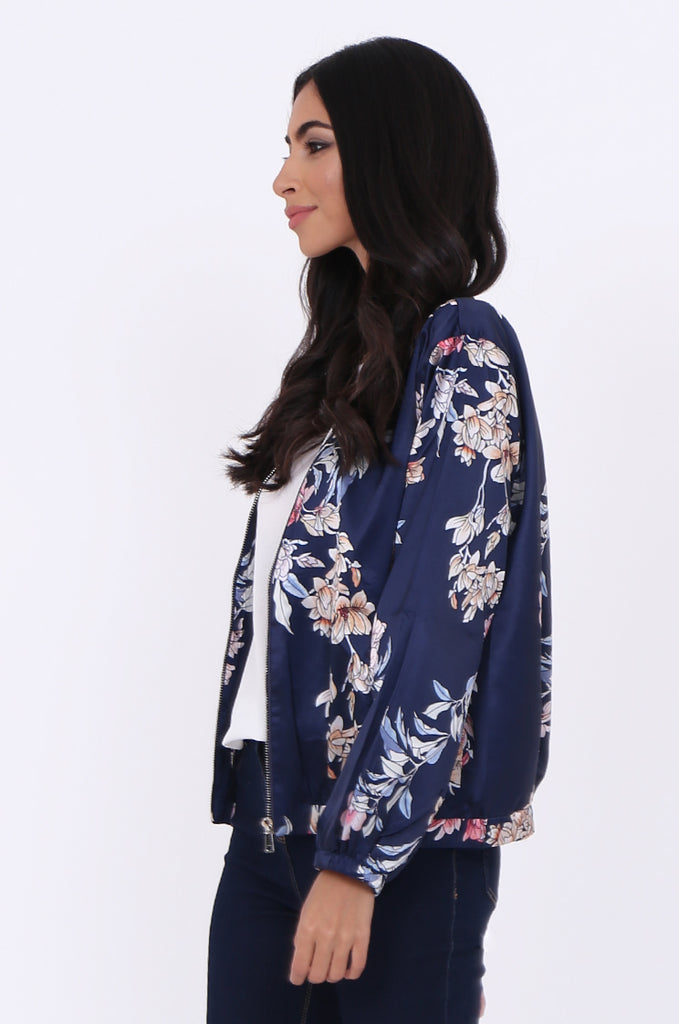 SJ1699-NAVY SATIN FLORAL BOMBER JACKET view 2
