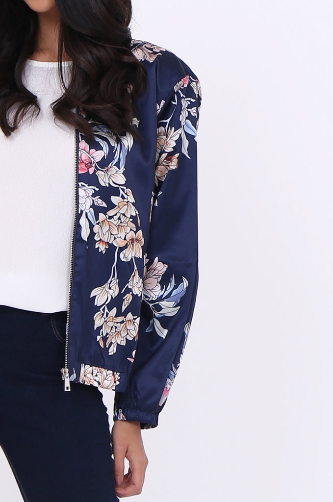 SJ1699-NAVY SATIN FLORAL BOMBER JACKET view 5
