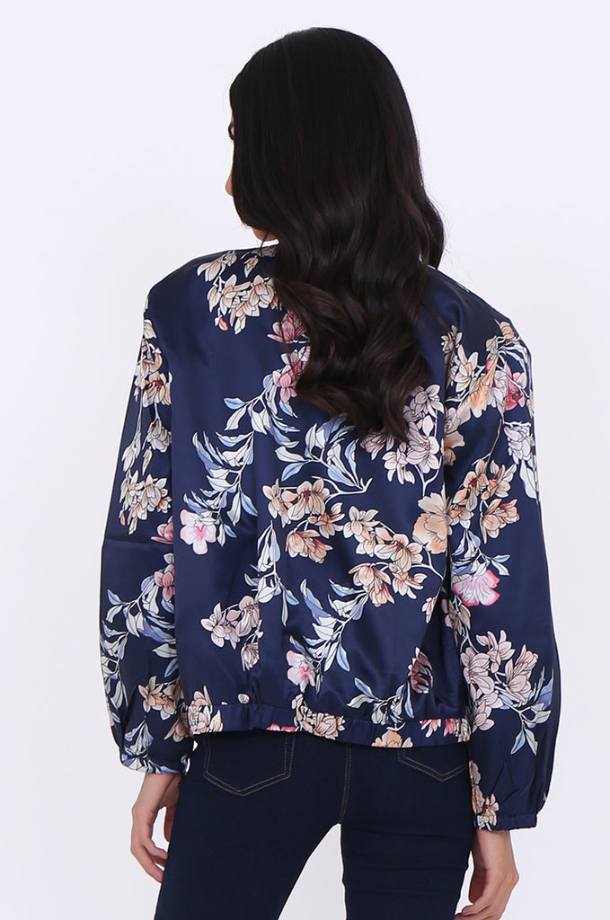 SJ1699-NAVY SATIN FLORAL BOMBER JACKET view 3