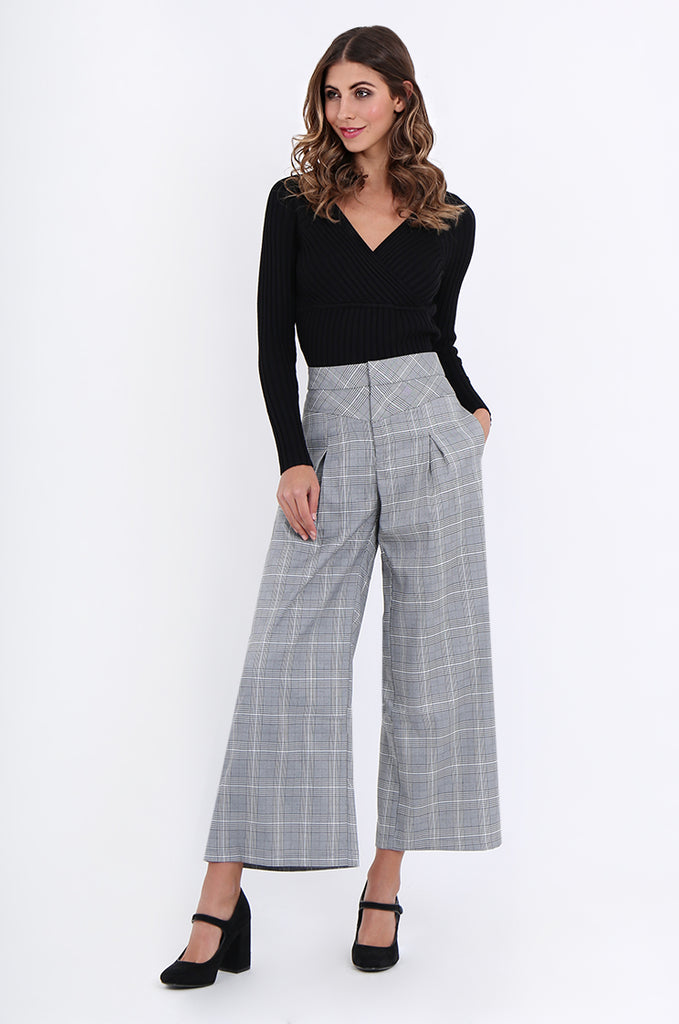SJ1877-BLACK CHECK PLEAT POCKET ANKLE LENGTH TROUSERS