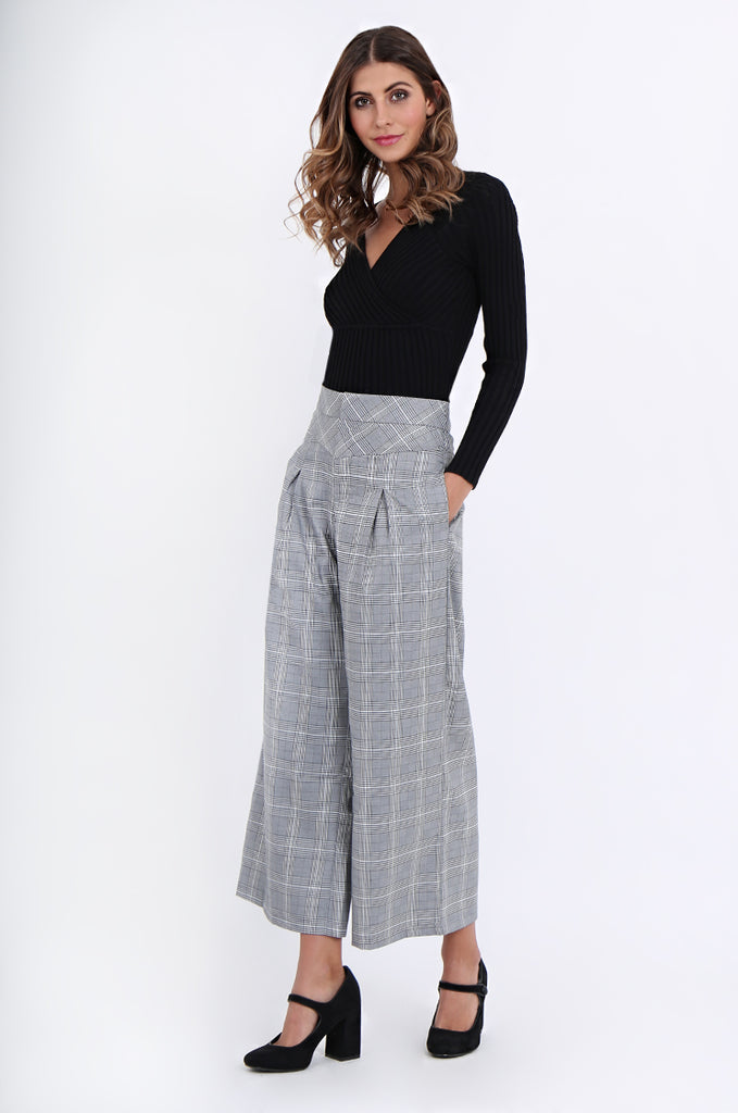 SJ1877-BLACK CHECK PLEAT POCKET ANKLE LENGTH TROUSERS view 2