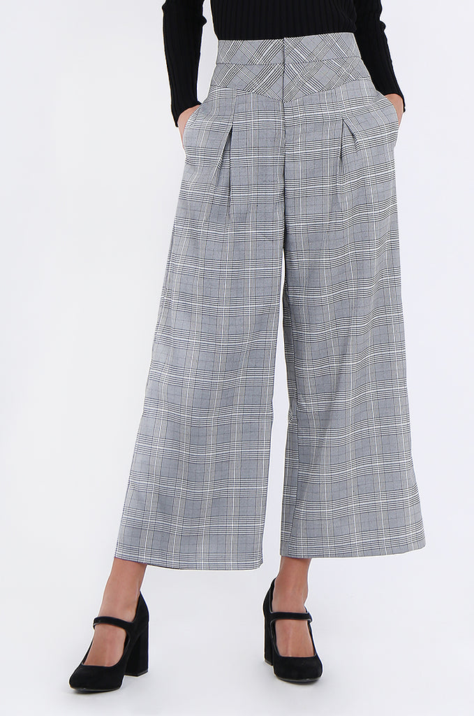 SJ1877-BLACK CHECK PLEAT POCKET ANKLE LENGTH TROUSERS view 4
