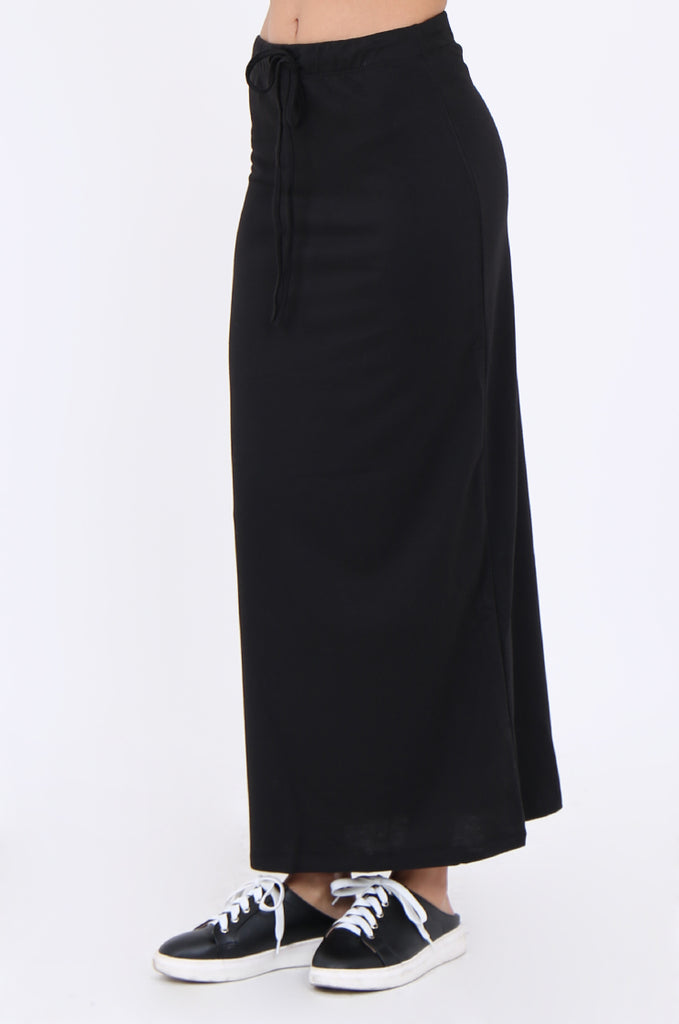 SJ1879-BLACK KNIT DRAWSTRING WAIST STRAIGHT MAXI SKIRT view 4