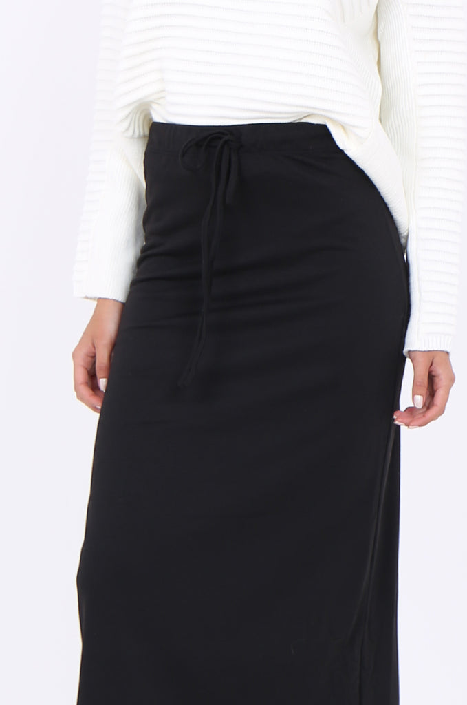 SJ1879-BLACK KNIT DRAWSTRING WAIST STRAIGHT MAXI SKIRT view 5