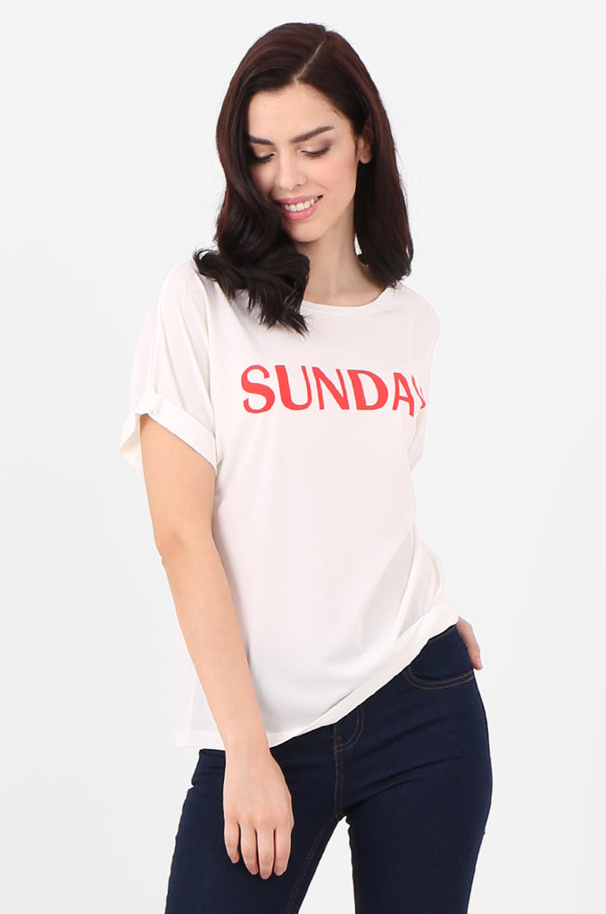 SJ2507-SUNDAY PRINT FRONT T-SHIRT view main view