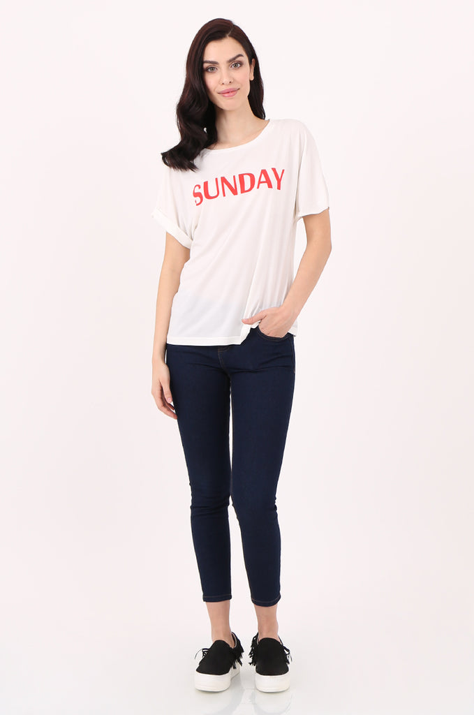 SJ2507-SUNDAY PRINT FRONT T-SHIRT view 4