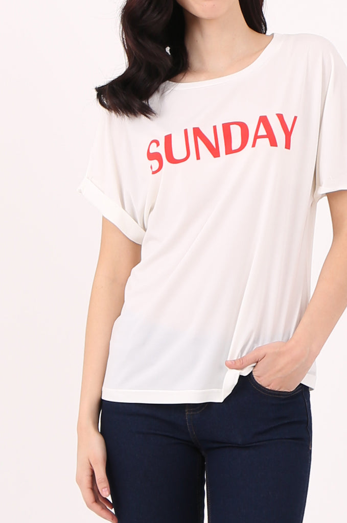 SJ2507-SUNDAY PRINT FRONT T-SHIRT view 5