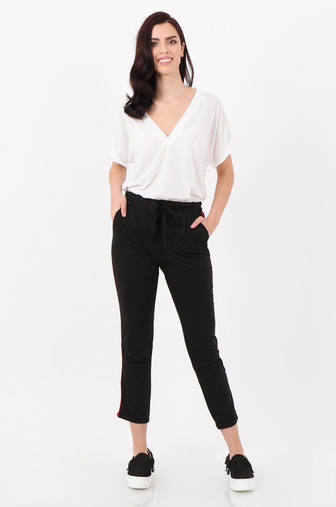 SJ2516-BLACK STRIPE SIDE BELTED JERSEY TROUSERS