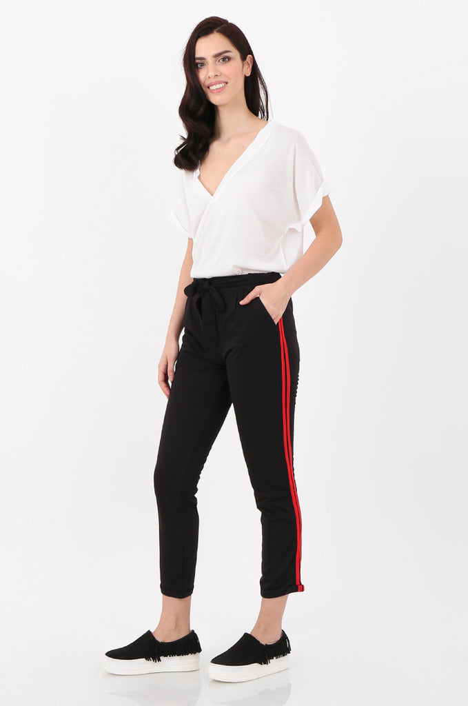 SJ2516-BLACK STRIPE SIDE BELTED JERSEY TROUSERS view 2
