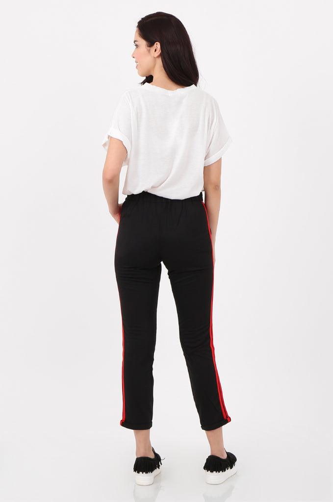 SJ2516-BLACK STRIPE SIDE BELTED JERSEY TROUSERS view 3