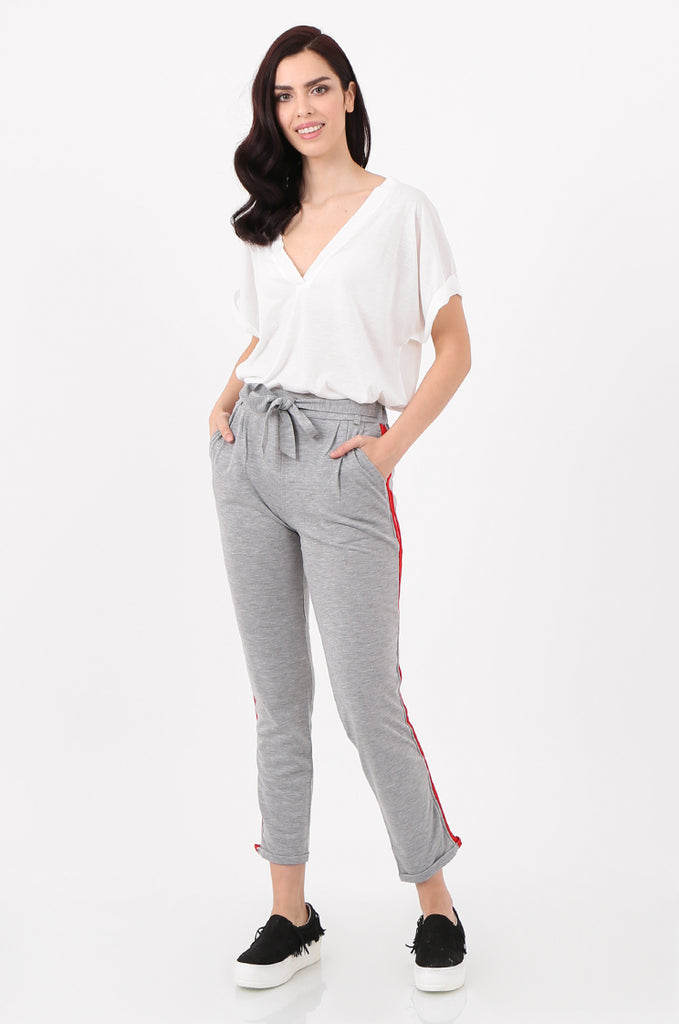 SJ2516-GREY STRIPE SIDE BELTED JERSEY TROUSERS view main view