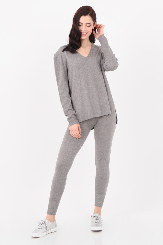SJ2521-GREY V-NECK SWEATER & LEGGINGS KNIT LOUNGEWEAR SET