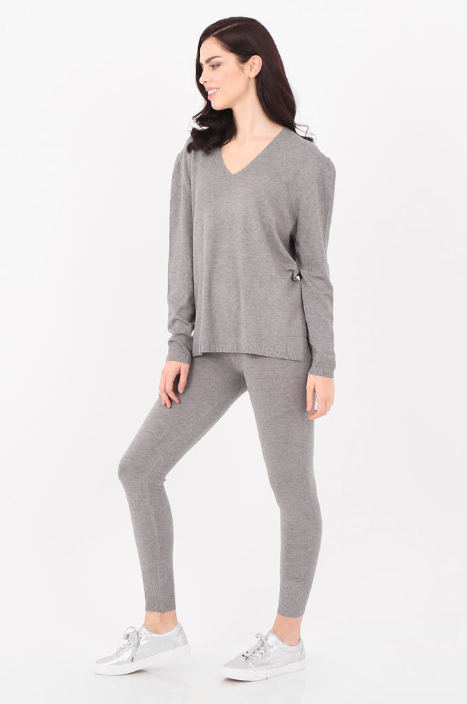 SJ2521-GREY V-NECK SWEATER & LEGGINGS KNIT LOUNGEWEAR SET view 2