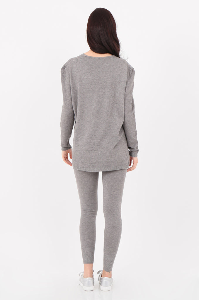 SJ2521-GREY V-NECK SWEATER & LEGGINGS KNIT LOUNGEWEAR SET view 3