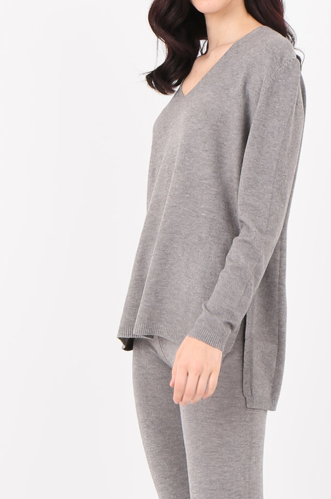 SJ2521-GREY V-NECK SWEATER & LEGGINGS KNIT LOUNGEWEAR SET view 4