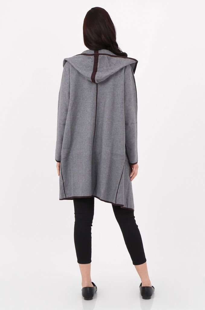 SJ2529-GREY CONTRAST TRIM HOODED COATIGAN view 3